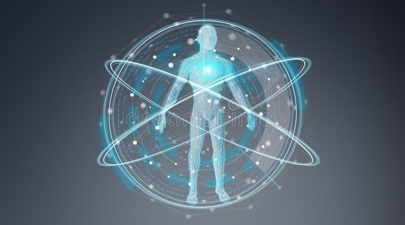 Representación del interfaz 3D del fondo de la exploración del cuerpo humano de la radiografía de Digitaces ilustración del vector