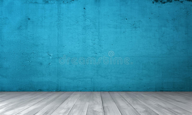 Representación del interior con el muro de cemento azul y el piso de madera imagen de archivo