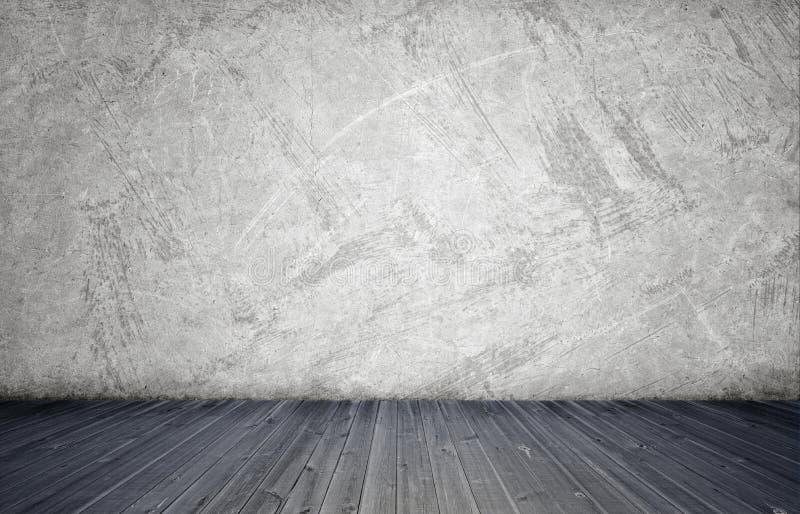 Representación del interior con el muro de cemento blanco y el piso de madera imágenes de archivo libres de regalías