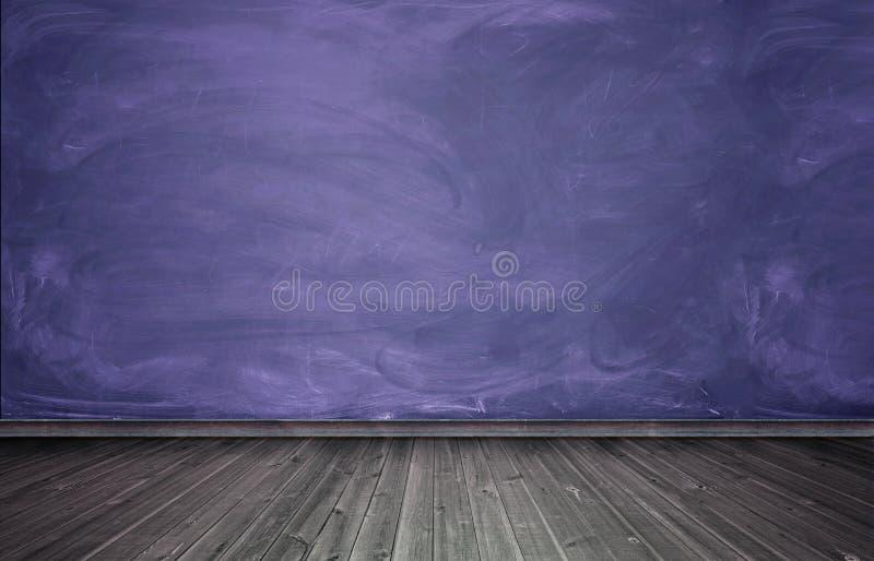 Representación del interior con el muro de cemento púrpura y el piso de madera imagenes de archivo