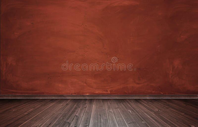 Representación del interior con el muro de cemento rojo y el piso de madera foto de archivo