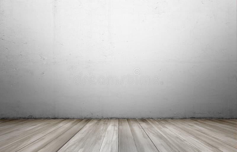Representación del interior con el muro de cemento y el piso de madera fotos de archivo libres de regalías