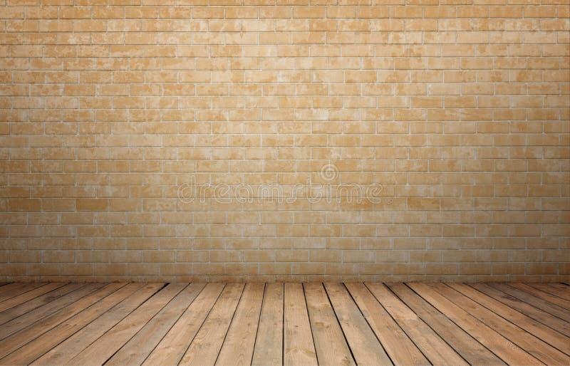 Representación del interior con la pared de ladrillo amarilla y el piso de madera imagenes de archivo