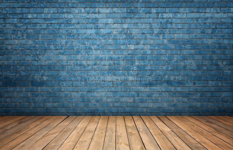 Representación del interior con la pared de ladrillo azul y el piso de madera fotografía de archivo