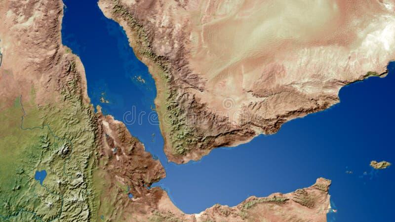 Representación del mapa 3D de Yemen el golfo de Adén libre illustration