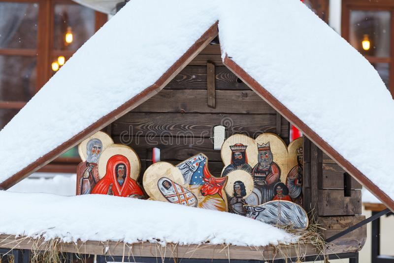 Representación del nacimiento de Cristo Ucrania, Lviiv, el 22 de enero de 2018 Las caras se pintan en estilo popular fotos de archivo libres de regalías