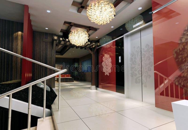 representación del pasillo del elevador 3d ilustración del vector
