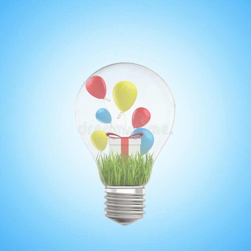 representación del primer 3d de la bombilla e hierba verde, caja de regalo blanca y globos coloridos dentro de ella, en azul clar libre illustration