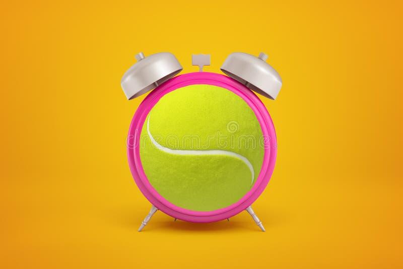 representación del primer 3d de un despertador rosado con la pelota de tenis en vez de la esfera de reloj en el fondo ambarino ilustración del vector
