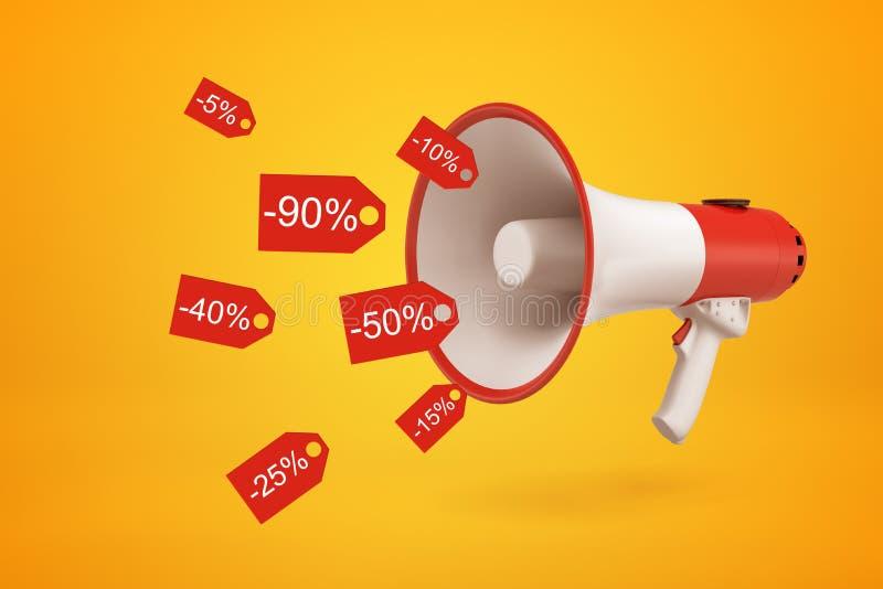 representación del primer 3d del megáfono rojo y blanco que emite las etiquetas rojas del descuento que prometen la reducción de  fotografía de archivo libre de regalías