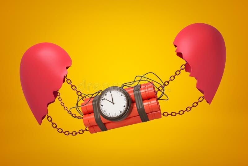 representaci?n del primer 3d del paquete de la dinamita con la bomba del contador de tiempo suspendida en cadenas entre dos porci libre illustration