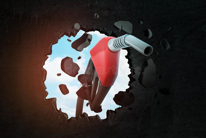 representación del primer 3d del surtidor de gasolina negro y rojo que rompe el agujero en pared negra con el cielo azul visto a  stock de ilustración