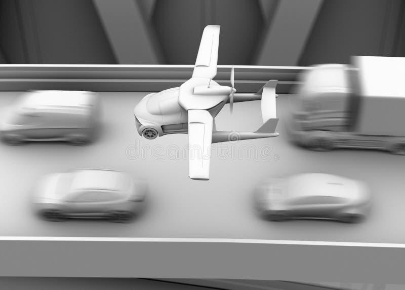 Representación del shading de la arcilla del coche futurista del vuelo que vuela sobre el atasco en la carretera stock de ilustración