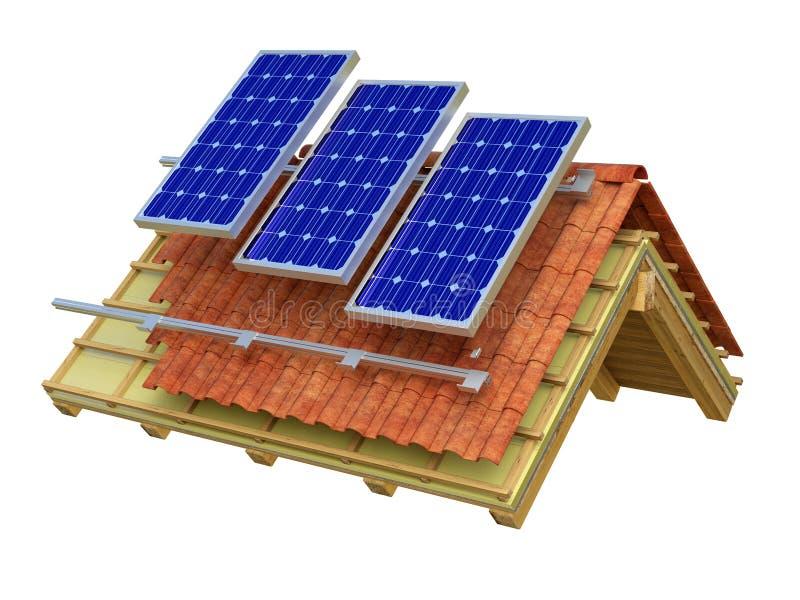 Representación del tejado 3D de los paneles solares foto de archivo libre de regalías