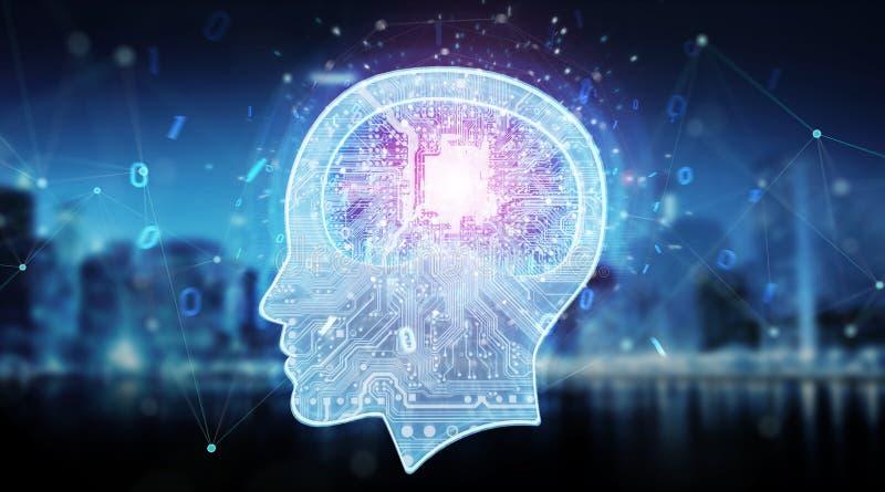 Representación digital del fondo 3D del cerebro de la inteligencia artificial stock de ilustración