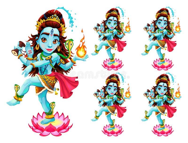 Representación divertida de dios del este en 5 diversos colores del ojo ilustración del vector