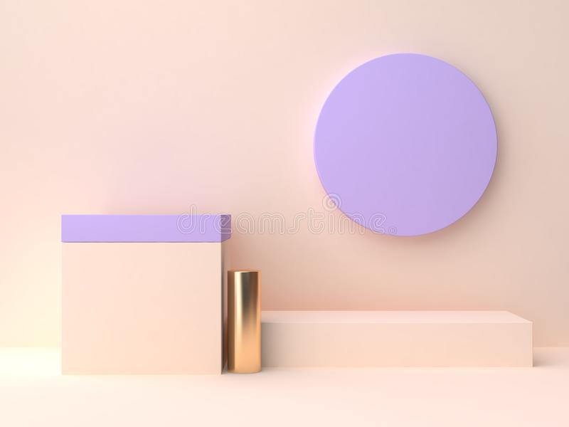 Representación en blanco del podio 3d de la pared del extracto de la forma geométrica violeta-púrpura poner crema de la escena ilustración del vector