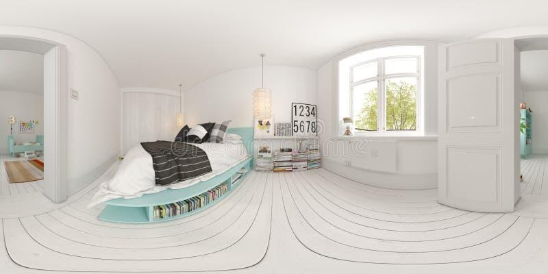 360 representación esférica del diseño interior 3D del dormitorio de la proyección del panorama stock de ilustración