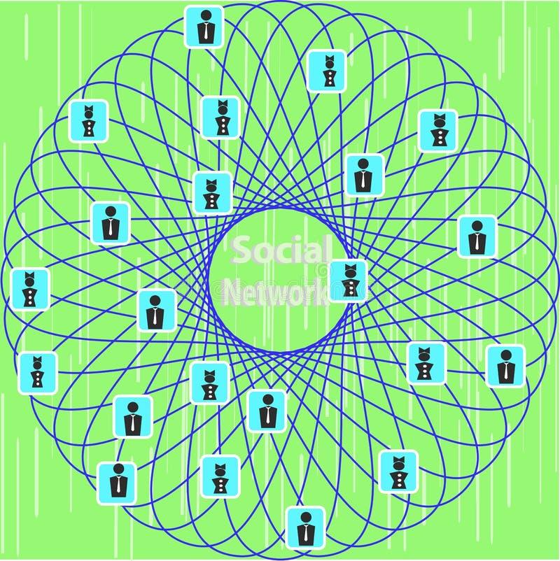 Representación esquemática conceptual de la red social stock de ilustración