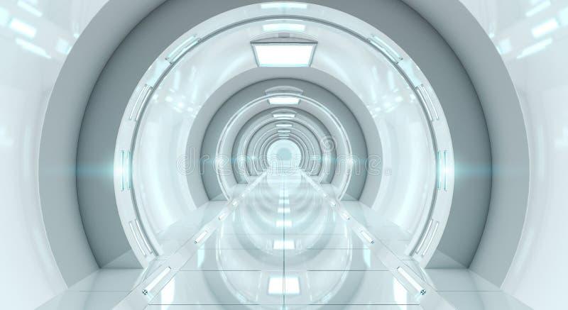 Representación futurista brillante del pasillo 3D de la nave espacial ilustración del vector