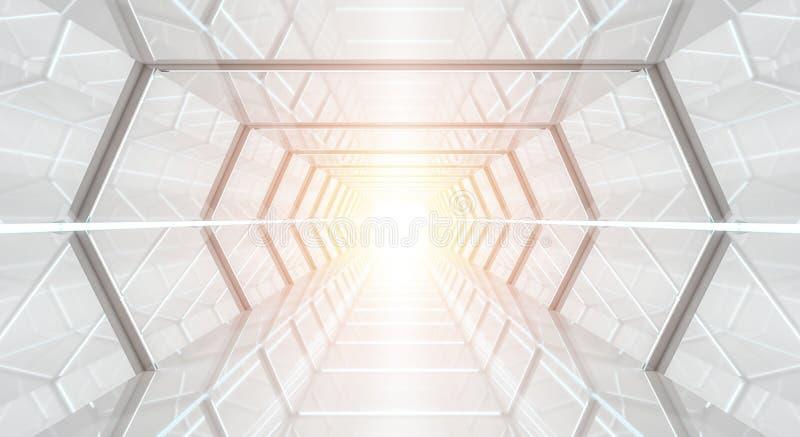 Representación futurista brillante del pasillo 3D de la nave espacial stock de ilustración