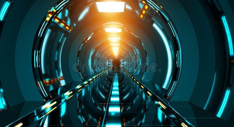 Representación futurista oscura del pasillo 3D de la nave espacial ilustración del vector