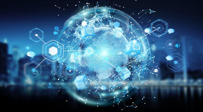 Representación global de la visión mundial 3D del sistema de las conexiones stock de ilustración