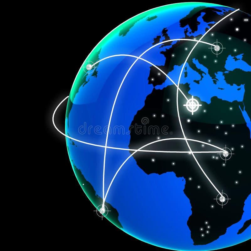 Representación interconectada del vínculo 3d de la tecnología del mundo del globo ilustración del vector