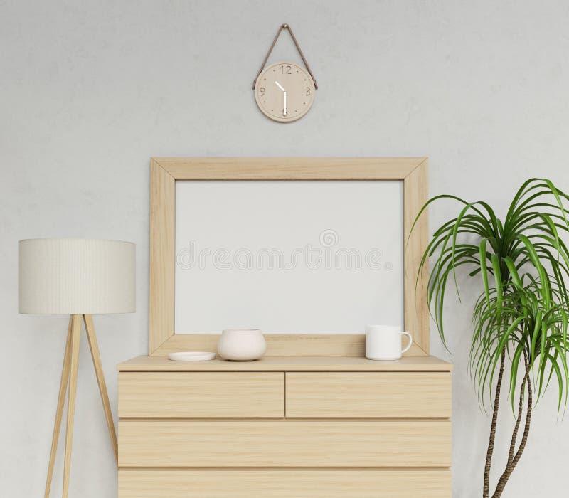 representación interior contemporánea acogedora 3d de la mofa en blanco del cartel a1 encima de la plantilla para mostrar su dise ilustración del vector