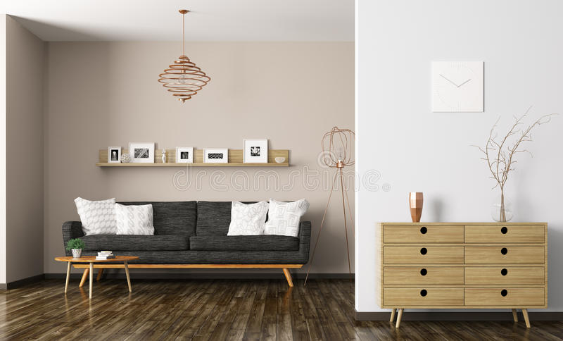 Representación interior 3d de la sala de estar moderna libre illustration