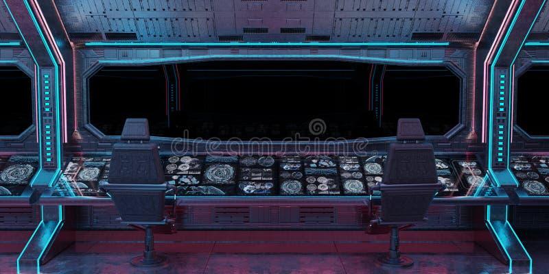Representación interior del fondo 3D de la nave espacial del Grunge stock de ilustración