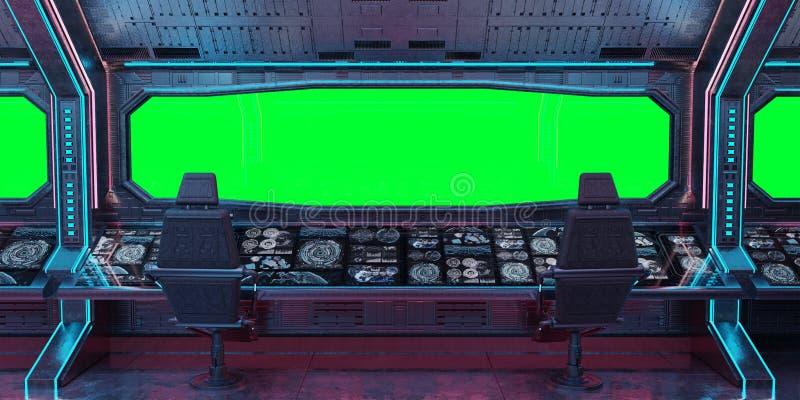 Representación interior del fondo 3D de la nave espacial del Grunge ilustración del vector