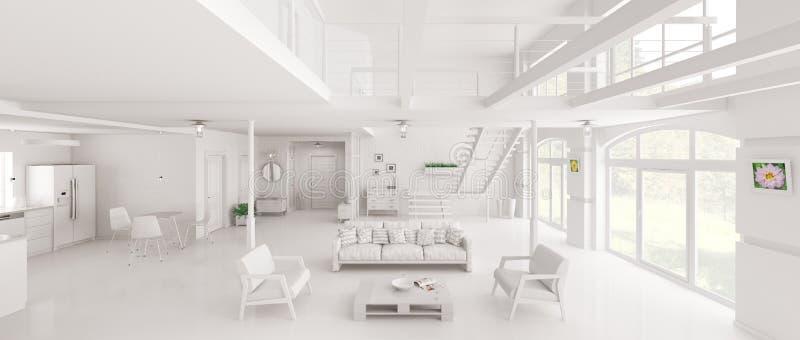 Representación interior del panorama 3d del desván blanco ilustración del vector