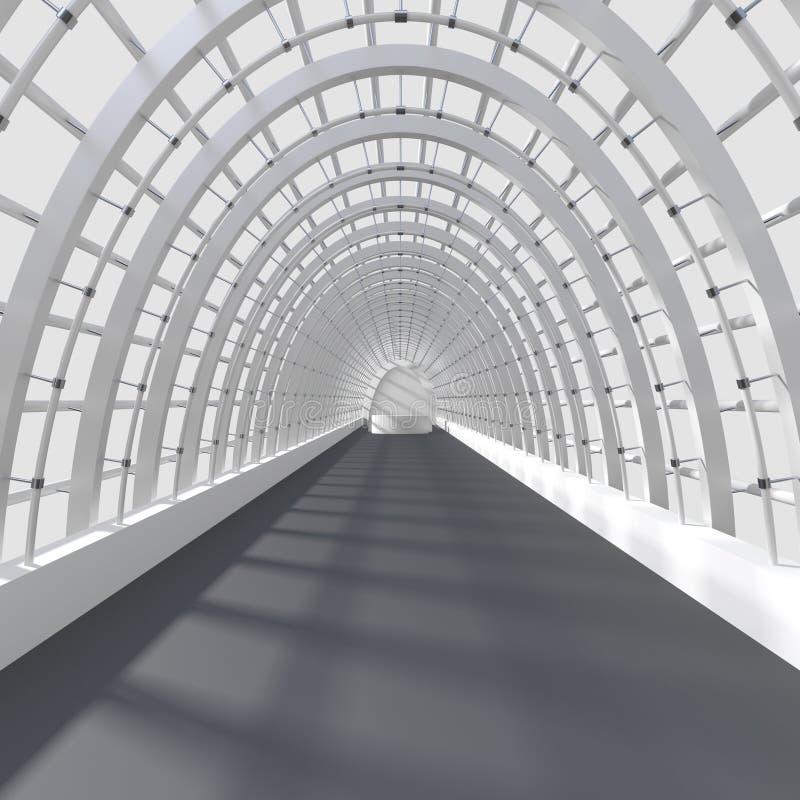 Representación interior hermosa - pasillo largo ilustración del vector