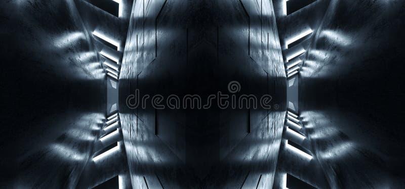 Representación llevada blanca vacía oscura concreta reflexiva de Hall Room 3D del pasillo del túnel de las luces de la nave espac stock de ilustración