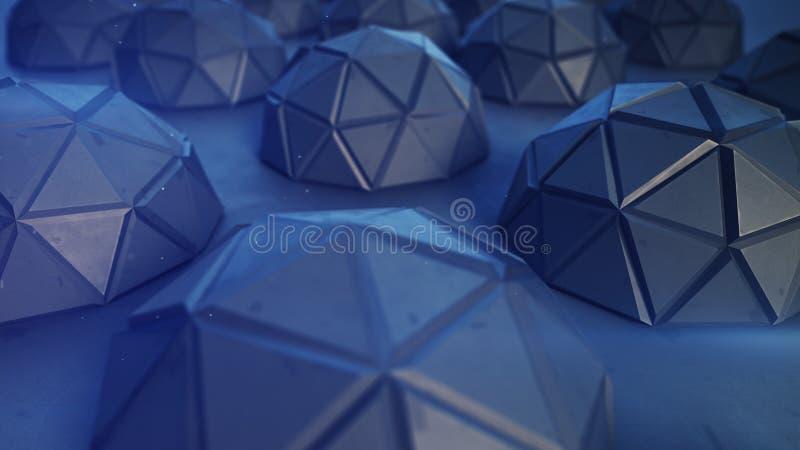 Representación metálica azul poligonal de los hemisferios 3D ilustración del vector