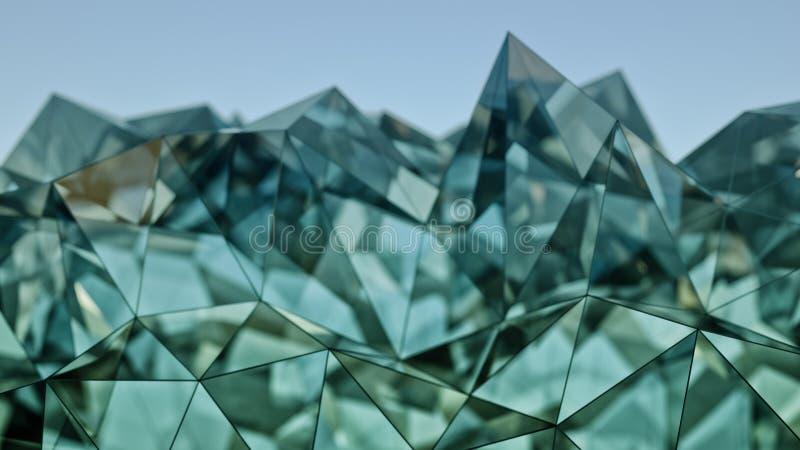 Representación moderna de la construcción 3D del vidrio y del acero con el DOF ilustración del vector