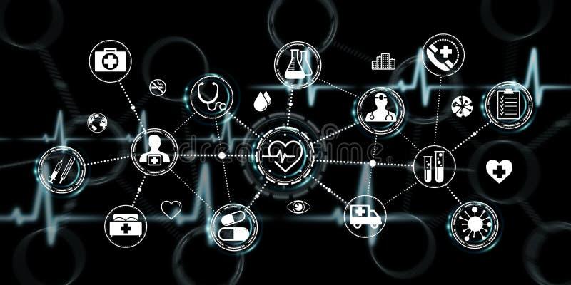 Representación moderna del interfaz 3D de la atención sanitaria ilustración del vector