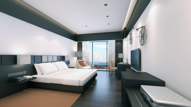 Representación moderna dormitorio/3D fotografía de archivo libre de regalías