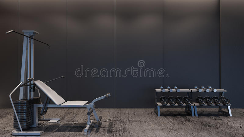 Representación moderna gimnasio/3D imágenes de archivo libres de regalías