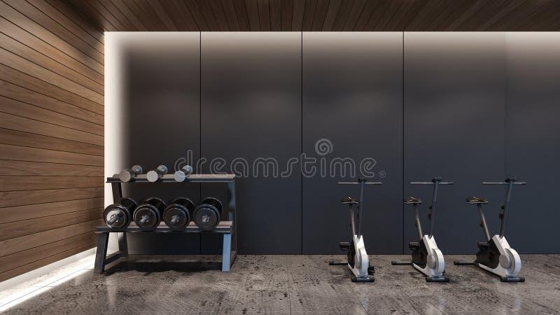 Representación moderna gimnasio/3D foto de archivo