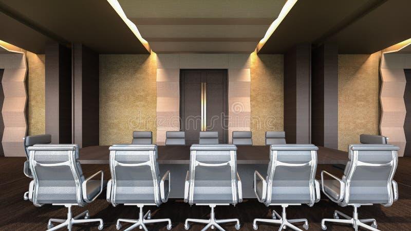 Representación moderna sala/3D de reunión ilustración del vector