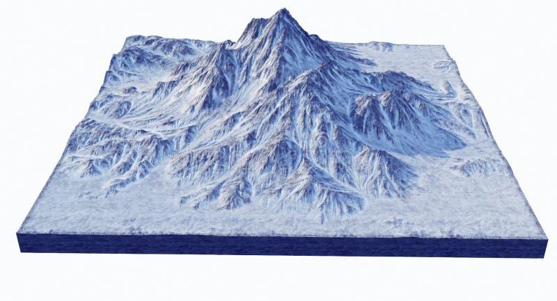 Representación nevada de Rocky Mountains 3D ilustración del vector