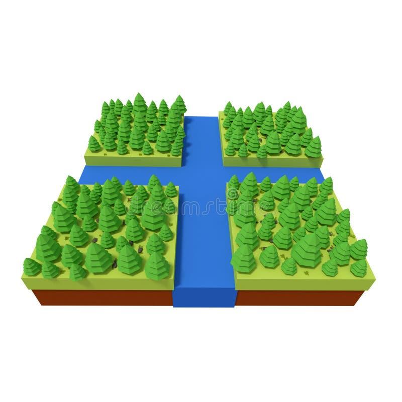 Representación polivinílica baja de una escena del estilo del juego, ejemplo 3d ilustración del vector