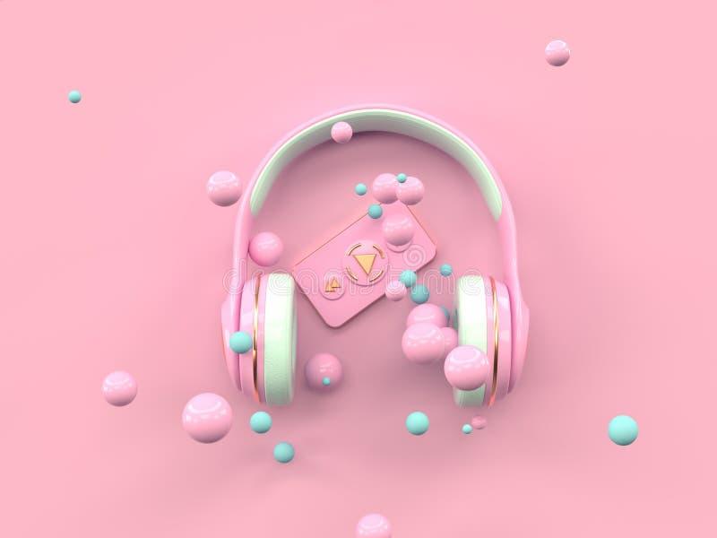 Representación puesta plana del concepto 3d de la tecnología del entretenimiento de la música del auricular del oro del rosa de l ilustración del vector