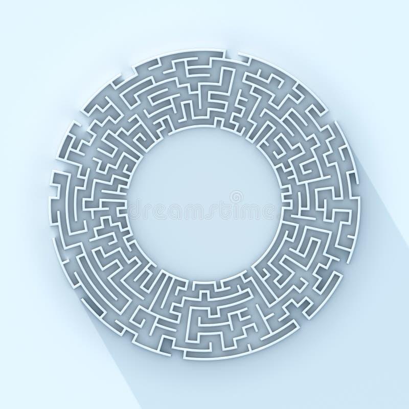 Representación redonda del concepto 3d del laberinto ilustración del vector