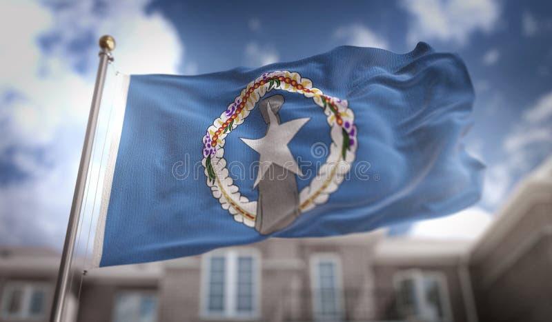 Representación septentrional de Mariana Islands Flag 3D en el edificio del cielo azul fotos de archivo