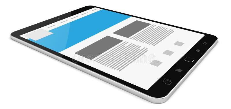 Representación táctil digital moderna de la tableta 3D stock de ilustración