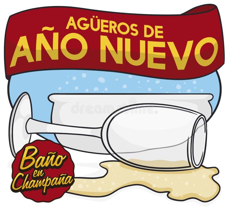 Representación tradicional del presagio de Colombia por Año Nuevo: Champagne Bathing, ejemplo del vector libre illustration