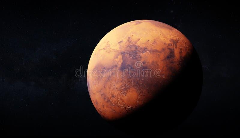 Representación ultra realisic 3d de Marte y de la vía láctea en el backrou ilustración del vector